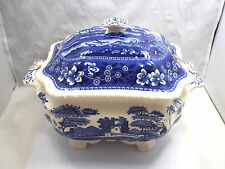 Vintage Spode England Blue Tower Gadroon Floral Scene Soup Tureen & Lid