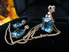 Custom Emerald Cut Blue Topaz & Diamond Yellow Gold Pendant Earring Set 14K 10K