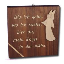 Schutzengeltafel Bild aus Nussbaum Holz mit Engel Aram Wo ich gehe, wo ich stehe
