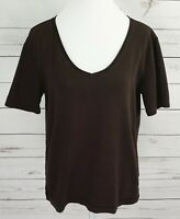 Chico's 2 Top Womens Large L Brown Solid V-Neck Short Sleeve Stretch Cotton