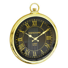 35cm Large Vintage Pocket Watch Style Wall Clock Gold Black Kitchen Antique