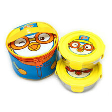 Pororo round 2 tier stainless lunchbox / Pororo blue lunch box (standard&sweety)