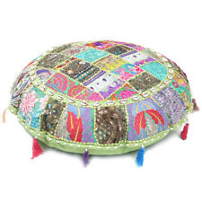 Modern Round Pillow Cover Patchwork Throw Khambadiya Floor Light Green Cushion
