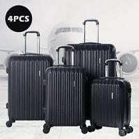 """4PCS Luggage Travel Set Bag ABS Spinner Suitcase Lock Black 16"""" 20"""" 24"""" 28"""""""