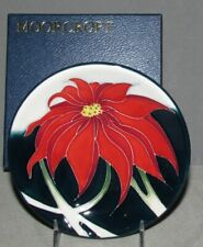 Moorcroft Christmas SCARLET Plate Coaster Poinsettia  Retired FIRST Quality NICE