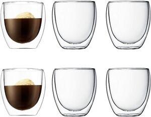 6pk Double Wall Insulated Glass Thermal Coffee Glass Mug Tea Cup 80/250/350ml