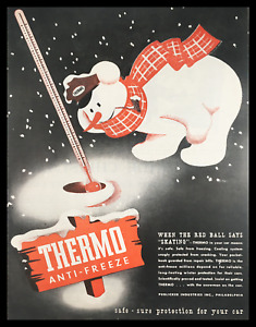 1945 Thermo Anti-Freeze Car Protection Vintage Print Ad