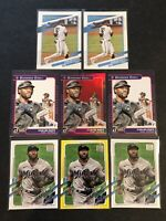 Starling Marte 8 Card Lot 2021 Topps Series1 Yellow, DK Holo Red Miami Marlins