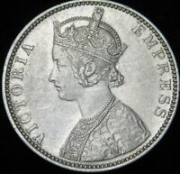 1892 British-India One Silver Rupee Queen Victoria  A40-767