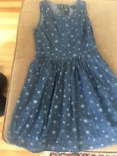 6e2af6d9cf GAPKIDS Gap Girl s Sleeveless Denim Dress with Stars Size M