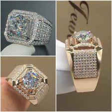 Luxury 925 Silver Gold Rings Men/Women White Sapphire Wedding Jewelry Size 6-13