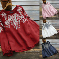 ZANZEA Women Long Sleeve Embroidered Crochet Shirt Tops Frill Loose Blouse Plus