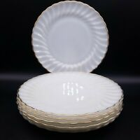 "10"" Vintage Anchor Hocking Fire King Milk Glass White Swirl Dinner Plates Set/6"