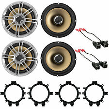 """2 pair 6.5"""" Car Slim Stereo Speakers Front & Rear W/Mounting Bracket & Harness"""