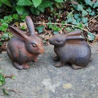 Pair of Vintage Finish Cast Iron Rabbit Garden Ornaments Bunny Animal Feature