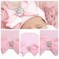 Baby Neugeborene Mädchen Bowknot Beanie Mützen Hut Cap Rosa 1PC