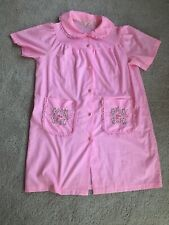 Pink Sears Vintage 50s 60s House Coat Robe Pajamas Housewife Bibbed Collar Vtg