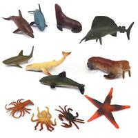 12 Animaux En Plastique D'Océan Figurines De Mer Créatures Modèle Jouet FE