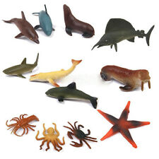 12 Plastic Ocean Animals Figure Sea Creatures Model Toy Dolphin Turtle Whaley R