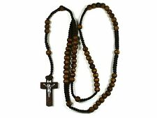 Rosary -brown wood Prayer Beads - Crucifix Necklace