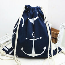 Cotton Linen Drawstring Travel Backpack Student Book Shoes Bag Print Anchor Bl B