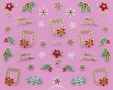 Christmas GOLD White Snowflakes Holly & Ivy Pic Frame 3D Nail Art Sticker Decal