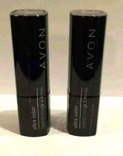 Lot 2 ~AVON Ultra True Color Lipstick ~BUTTERED RUM Shea Butter New Brown Cognac
