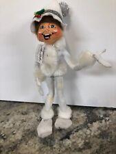 """Rare Annalee Dolls 10""""Silver Sparkle Elf White 2013 Christmas Pom Pom Hat W/ Tag"""
