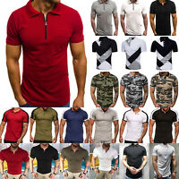 Mens Short Sleeves  Pique Polo Shirts Summer Casual Golf Top Workout T-shirt Tee
