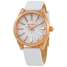 Diesel Silver Glitter Dial Ladies Leather Watch DZ5541