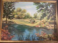 "Kieckner  ""Landscape With Stream And Cottage Scene"" Oil Painting - Signed/Framed"