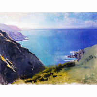 Thayer Cornish Headlands Ocean Landscape Painting Large Canvas Art Print