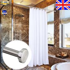 Telescopic Bath Shower Bathroom Curtain Rail Extendable Pole Rod Stainess Decor