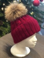 Red Cable Handknitted Cashmere Hat With Real Fur Pom Pom