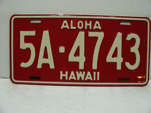 1957 Hawaii License Plate     5A - 4743   Aloha     Vintage  a9221