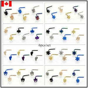 6pcs Nose Piercing Body Jewelry Stainless Steel skull spide Nose Ring Nose Stud