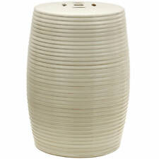 """Oriental Furniture 18"""" Beige Ribbed Porcelain Garden Stool"""