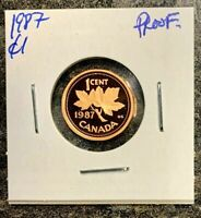 CANADA 1987 ONE CENT *PROOF* - BRONZE 100%