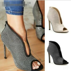 Womens V Pattern Ankle Boots Back Zip High Heel Rhinestone Peep Toe Party Shoes