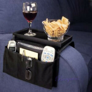 Sofa Couch Chair Arm Rest Organizer Remote Control Holder 6 Pocket with Table