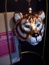 "Slavic Treasures Bengel Tiger Rare Green Eyed Glass Ornament Lrg. 4 1/2"" Mint"