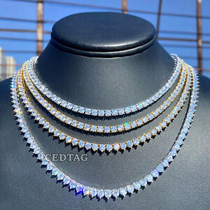 Tennis Chain Real Gold/ White Gold Finish Single Row ICED Diamond Iced Necklace
