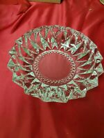 Vintage- Clear Glass Crystal Ashtray or Candydish Mid Century Crystal