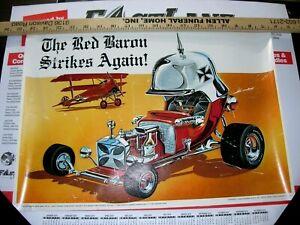 Original Tom Daniel's The Red Barron Monogram Models poster 1968 Hot Wheels RARE