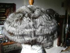 Stunning vtg 40s real SILVER FOX fur STOLE, thick & silky, lovely design, MINT!