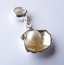 925 Sterling Silver   ' PEARL in SHELL '  Dangle European Charm Bead