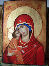 MARY AND JESUS  LARGE  HAND PAINTED  ICON ON WOOD