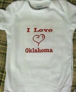 I Love Oklahoma  Baby Bodysuit Embroidered