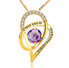 I love you to the moon and back Herz gold Kristall Kette Anhänger 925 Silber