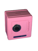 "Pink Metal Kid Coin Safe Piggy Bank Cash Box with Combination Lock 5.25""H,SS621P"